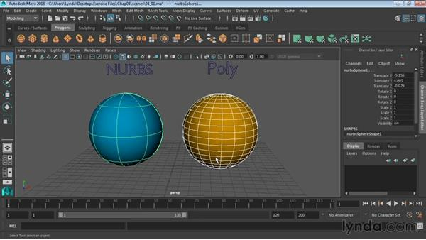 Differences between NURBS and polygons: Maya 2016 Essential Training