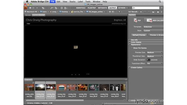 Creating a web gallery: Photoshop CS4 for Photographers