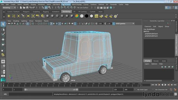 Creating creases in smooth surfaces: Maya 2016 Essential Training
