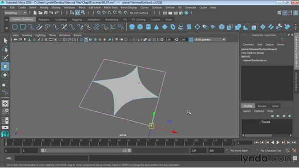 Creating shapes with NURBS planar: Maya 2016 Essential Training