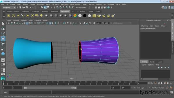 Extracting NURBS curves from surfaces: Maya 2016 Essential Training