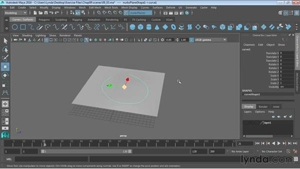 Creating curves on a surface: Maya 2016 Essential Training