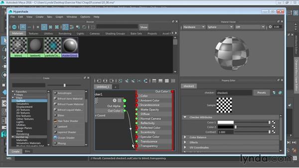 Creating materials in the Hypershade window: Maya 2016 Essential Training