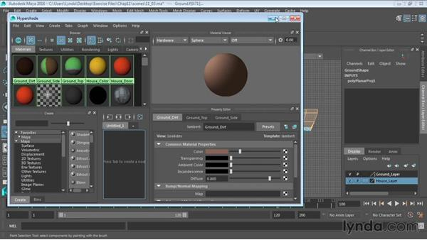 Using cylindrical projections on polygons: Maya 2016 Essential Training