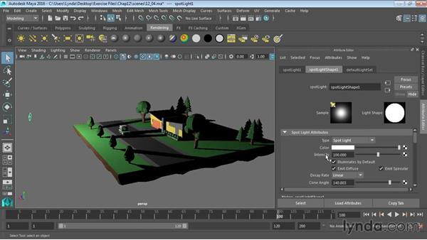 Using falloff for realistic lighting: Maya 2016 Essential Training