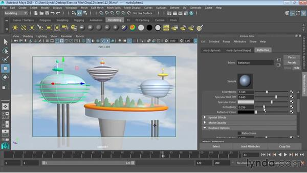 Raytracing reflections and refractions: Maya 2016 Essential Training