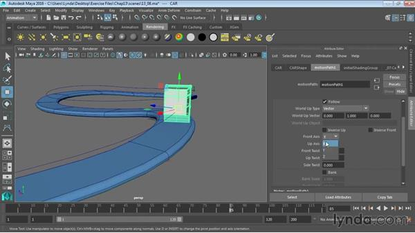 Animating objects along spline paths: Maya 2016 Essential Training