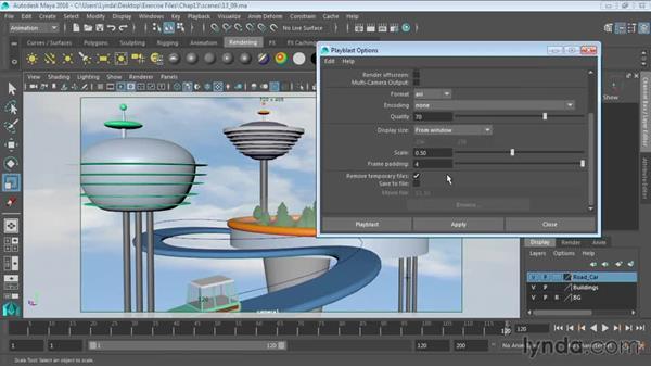 Animation playback using Playblast: Maya 2016 Essential Training