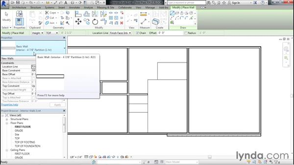 Using line work to create interior walls: Designing Home Plans with Revit