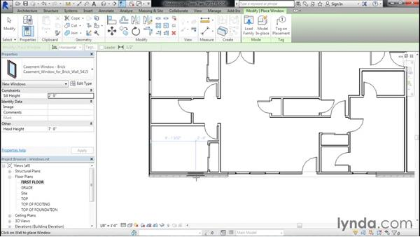 Adding windows to the project: Designing Home Plans with Revit
