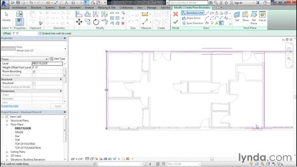 Adding a structural floor to the project: Designing Home Plans with Revit