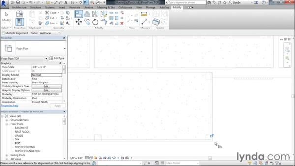 Adding headers at the front porch: Designing Home Plans with Revit