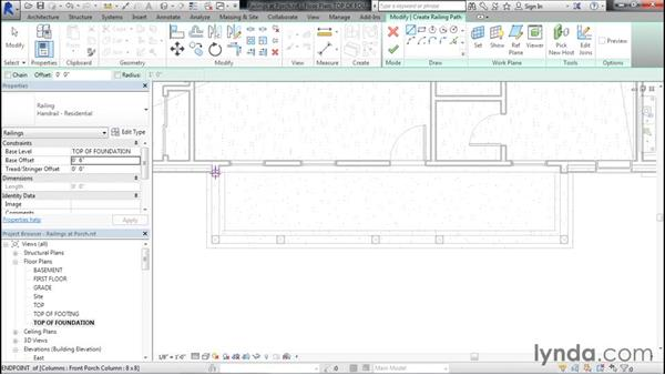 Placing the railings for the front porch: Designing Home Plans with Revit