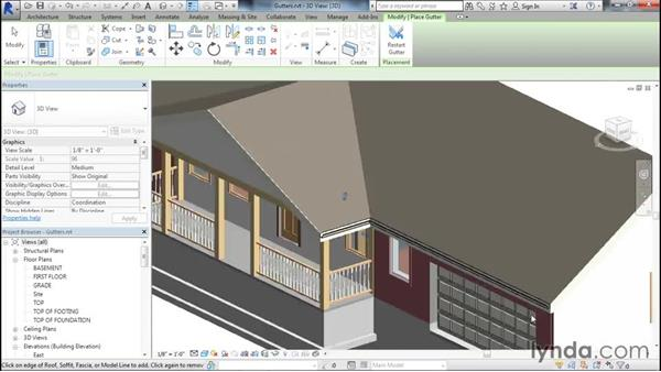 Adding gutters to a roof: Designing Home Plans with Revit