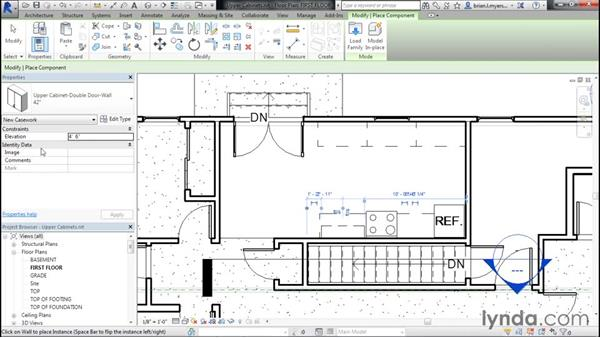 Placing upper cabinets: Designing Home Plans with Revit