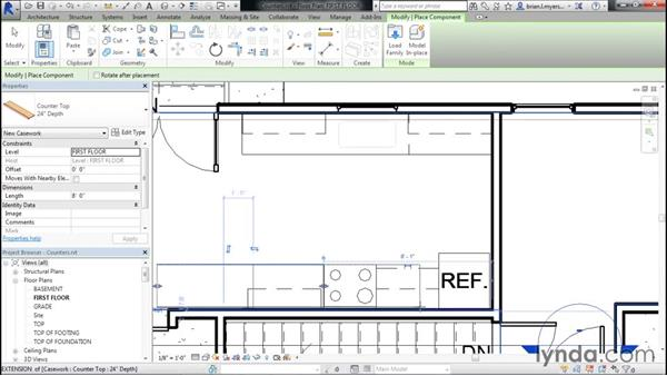 Placing countertops: Designing Home Plans with Revit