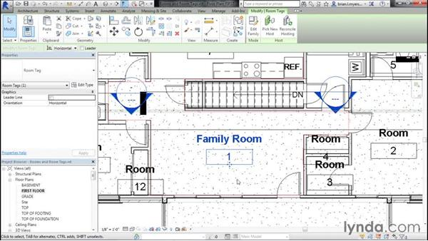 Adding rooms and room tags: Designing Home Plans with Revit