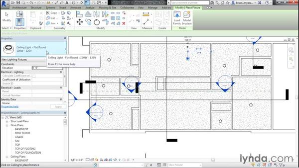 Placing ceiling lights: Designing Home Plans with Revit