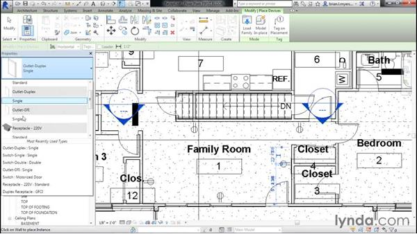 Adding electrical receptacles: Designing Home Plans with Revit