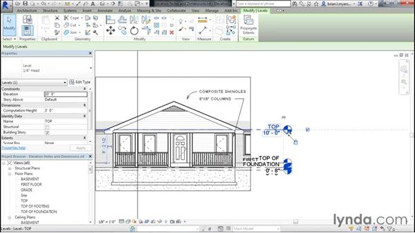 Adding notes and dimensions: Designing Home Plans with Revit