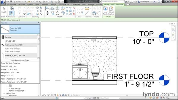 Placing mirrors and towel bars: Designing Home Plans with Revit