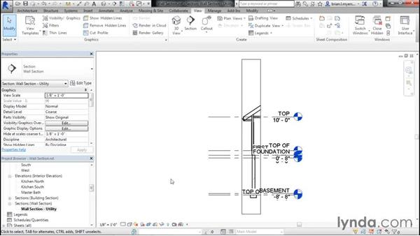 Creating a wall section: Designing Home Plans with Revit
