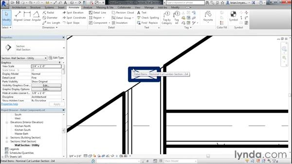 Detailing a wall section with detail components: Designing Home Plans with Revit