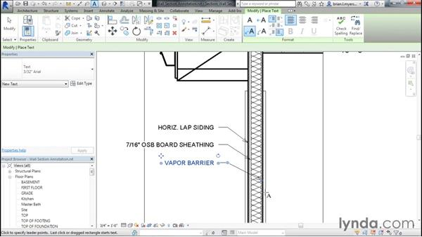 Adding text and dimensions to wall sections: Designing Home Plans with Revit