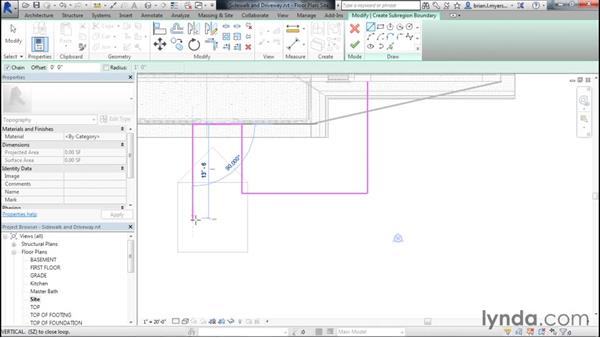 Creating the sidewalk and drives: Designing Home Plans with Revit