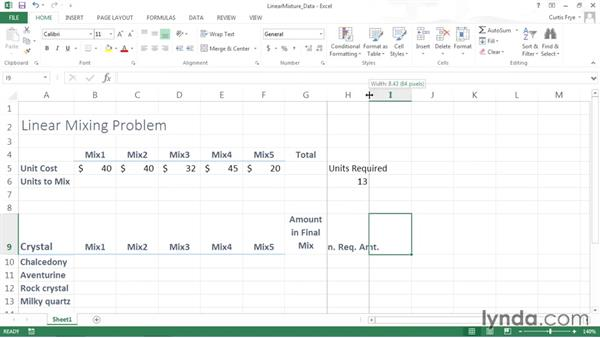 Adding data to the worksheet: Solving Optimization and Scheduling Problems in Excel