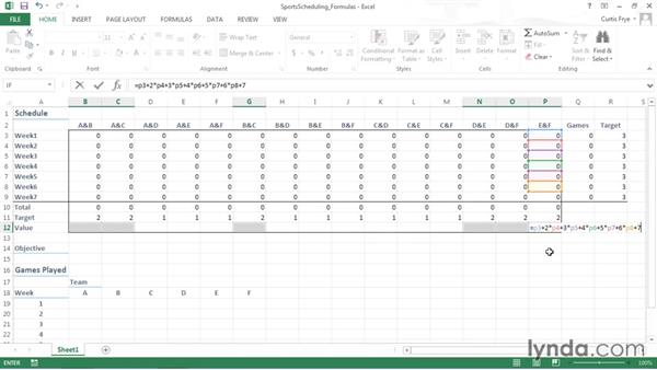 Defining summary formulas: Solving Optimization and Scheduling Problems in Excel