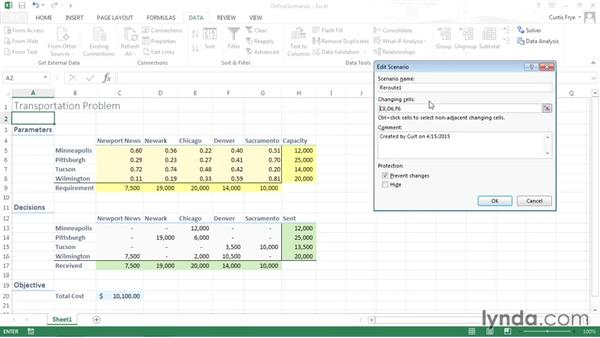 Defining a scenario: Solving Optimization and Scheduling Problems in Excel