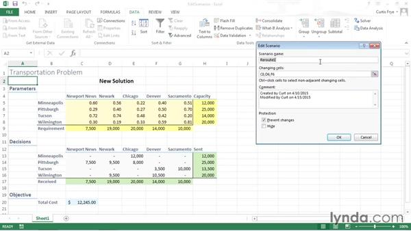 Editing and deleting scenarios: Solving Optimization and Scheduling Problems in Excel