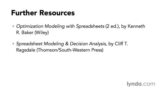 Further resources: Solving Optimization and Scheduling Problems in Excel