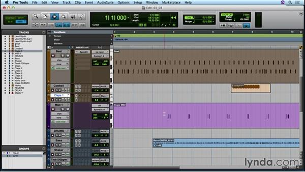 Exploring the interface of the Edit and Mix windows: Up and Running with Pro Tools