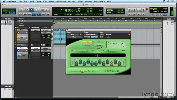 Recording bass to an audio track: Up and Running with Pro Tools
