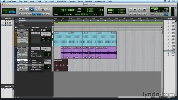 Building a clap track with audio loop recording: Up and Running with Pro Tools