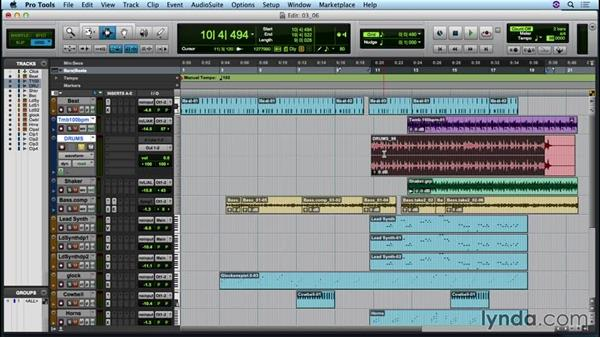 Adjusting global tempo with elastic audio: Up and Running with Pro Tools