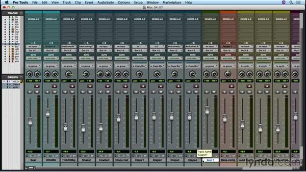 Bussing audio within the mixer: Up and Running with Pro Tools