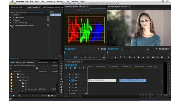 Removing color casts using the RGB Parade video scope: Introduction to Video Color Correction