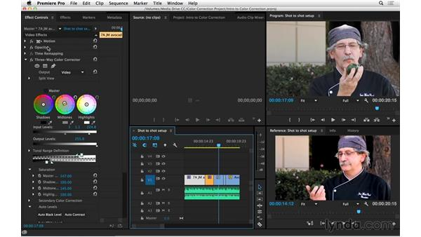Getting set up to perform shot-to-shot corrections: Introduction to Video Color Correction