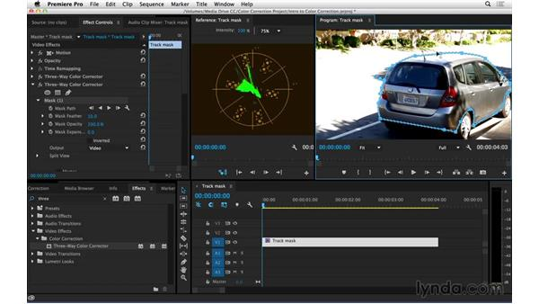 Using and tracking mattes to isolate color correction effects: Introduction to Video Color Correction