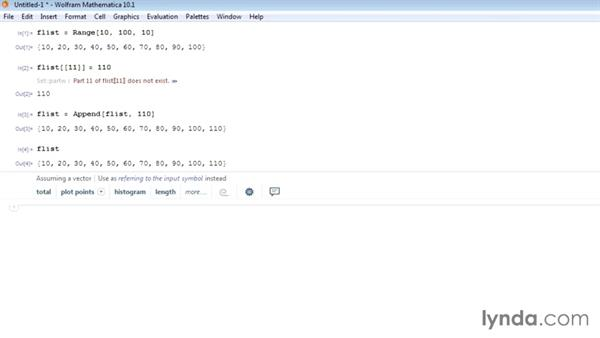 Adding and deleting list items: Mathematica 10 Essential Training