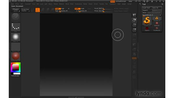 Establishing canvas size and color: ZBrush 3 for Windows Essential Training