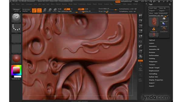 Discovering sculpting brushes: ZBrush 3 for Windows Essential Training