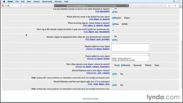 Configuring digest mode: Managing Mailing Lists with Mailman