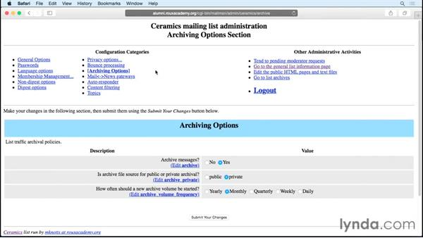 Understanding and controlling list archives: Managing Mailing Lists with Mailman