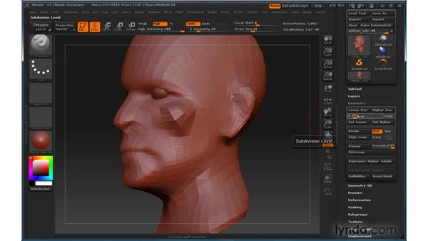 Working with levels of detail: ZBrush 3 for Windows Essential Training