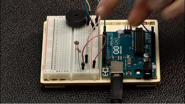 Creating a light sensing theramin: Up and Running with Arduino