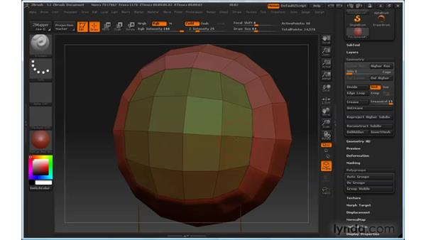 Creating sharp edges with the Crease tool: ZBrush 3 for Windows Essential Training
